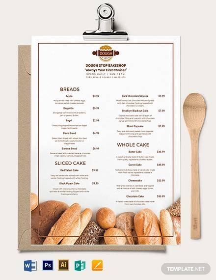 pastry bakery menu template