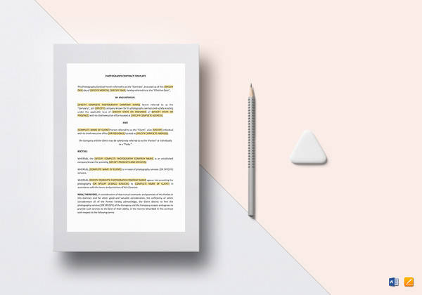 photography contract template in doc