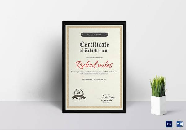 printable achievement certificate template