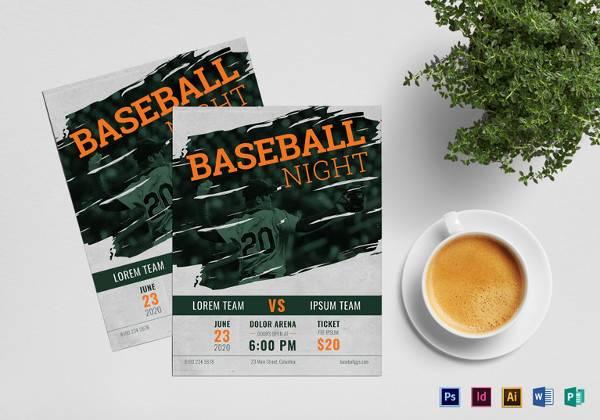 printable baseball flyer template