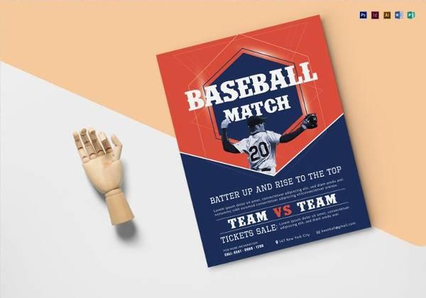 printable baseball match flyer template