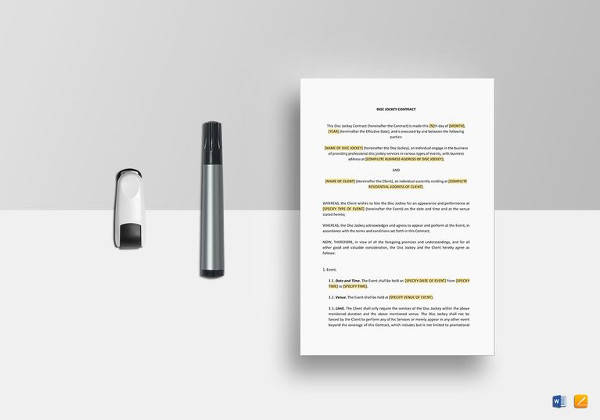 printable dj contract template in ipages