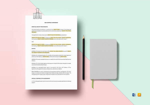 printable rental contract amendment template