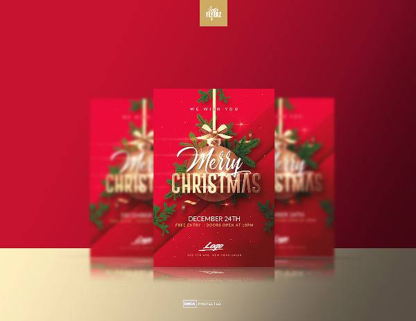 red christmas flyer template