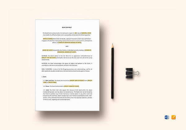 simple band contract word template