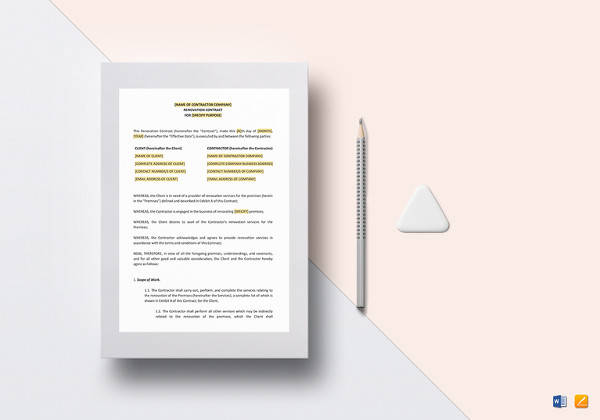 simple renovation contract template