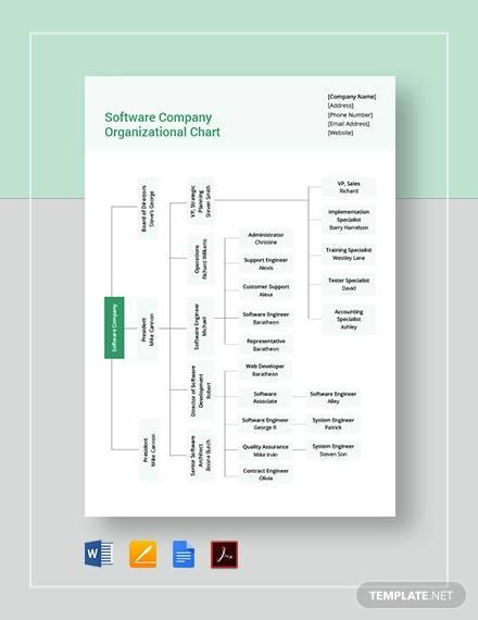 software company organizational chart template