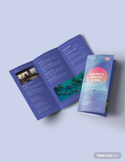 spa resort tri fold brochure template