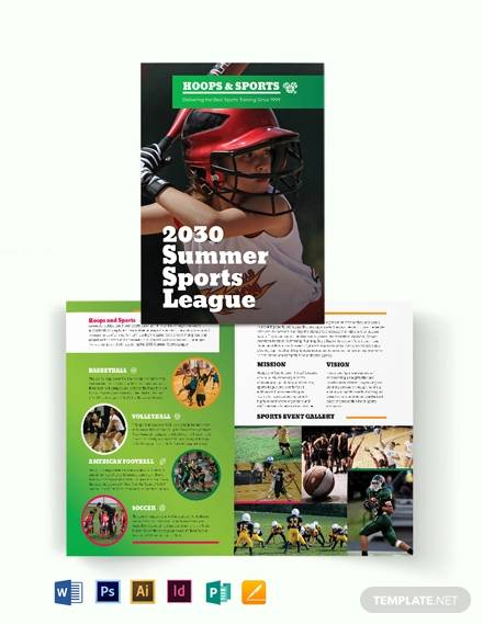 sports event bi fold brochure template