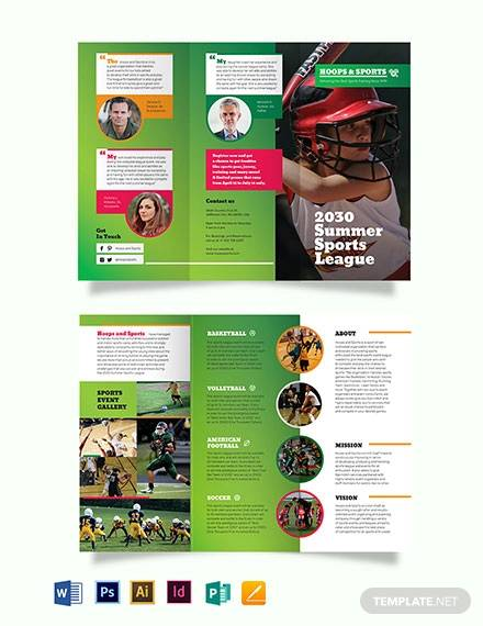 sports event tri fold brochure template