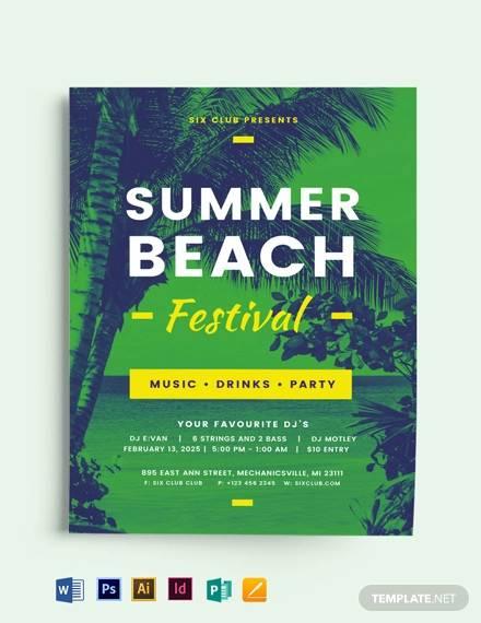 summer beach event flyer template
