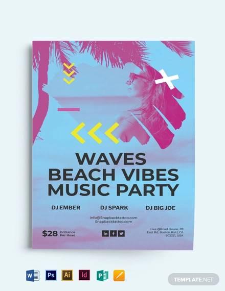 sunset beach party flyer template