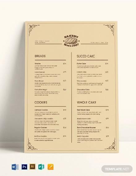 vintage bakery menu template