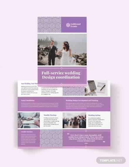 wedding event bi fold brochure template