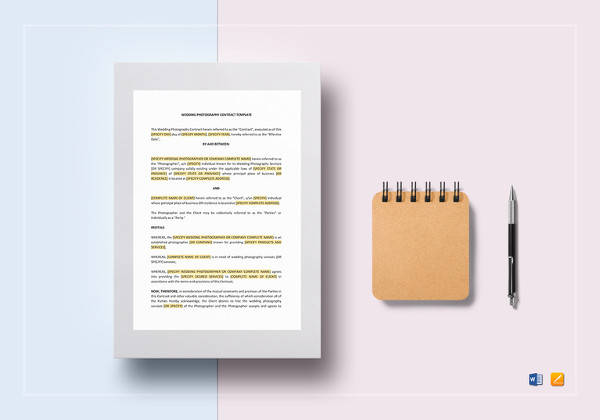 wedding photography contract template in google docs
