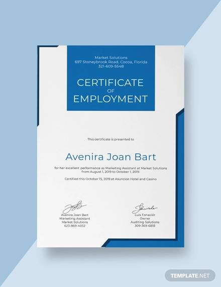 free certificate of employment