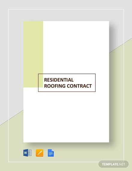 residential roofing contract