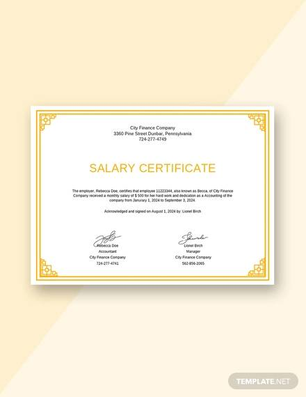 salary certificate from employer