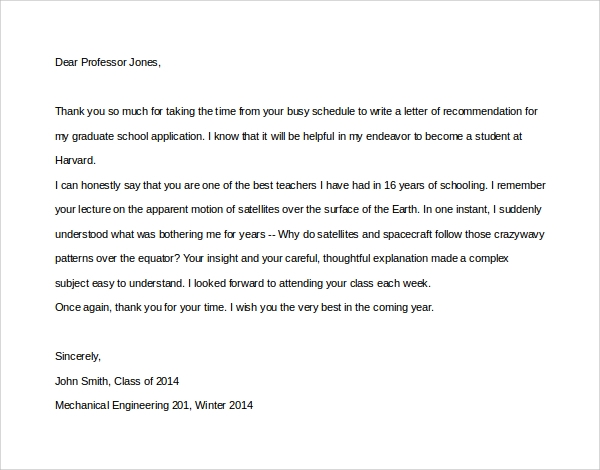 Sample Thank You Letter To Professor   Download Free Documents