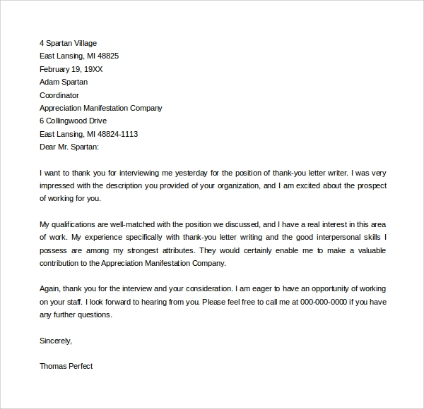Sample Thank You Letter To Professor 9 Download Free