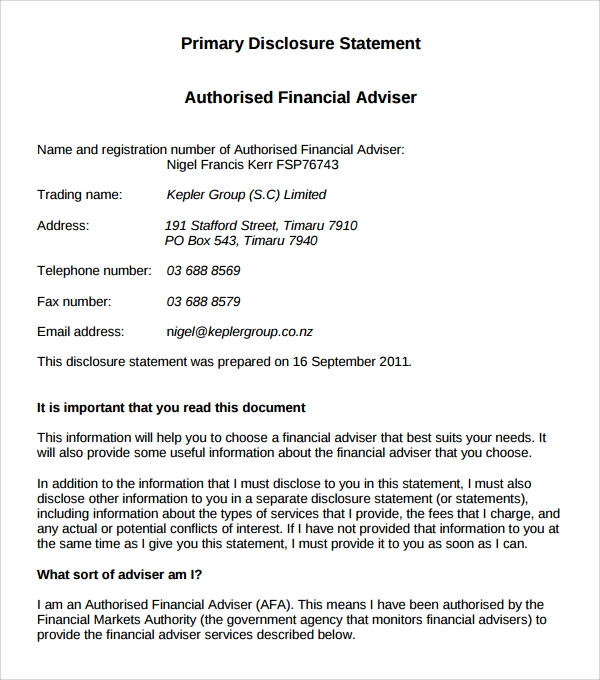 adviser business statement template