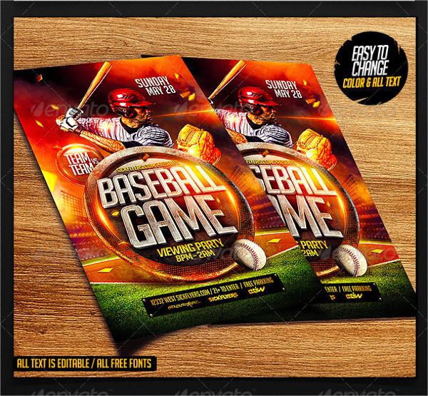 baseball game flyer template psd