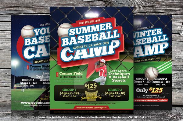 summer camp baseball flyer