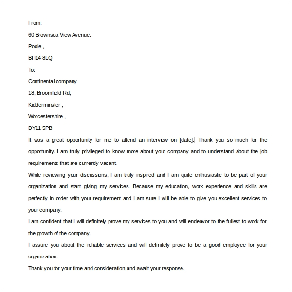 Sample Post Interview Thank You Letter 9 Download Free Documents