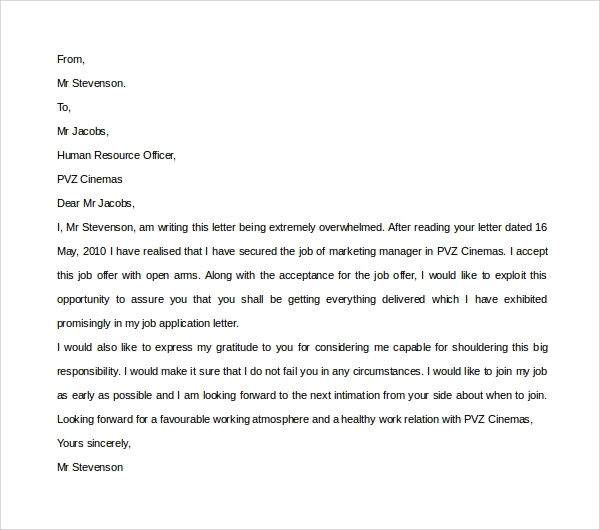 Sample Thank You Letter For Job Offer   Download Free Documents