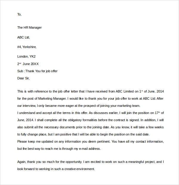 Sample Thank You Letter for Job Offer - 9+ Download Free Documents ...