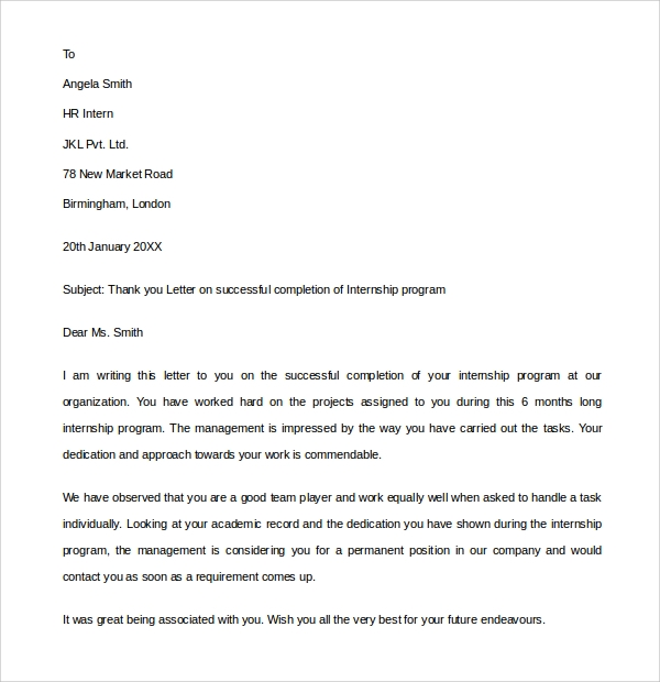 Internship Thank You Letter - 9+ Download Free Documents in PDF, Word