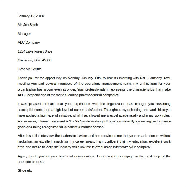 Sample Internship Thank You Letter   Free Documents In Pdf Word