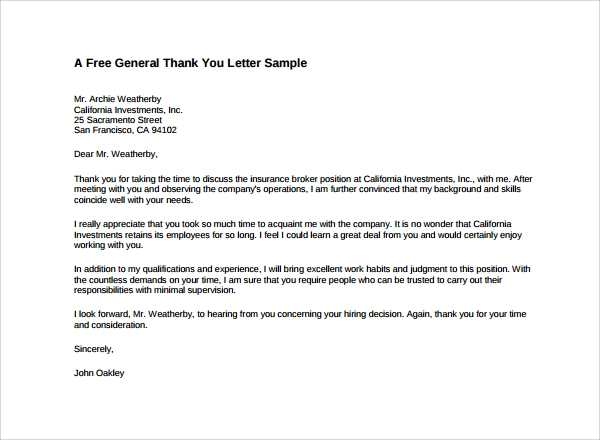 Basic-Formal-Thank-You-Letter Sample Formal Letter Example on job acceptance, business invitation, address for, template for, transfer request, short resignation,