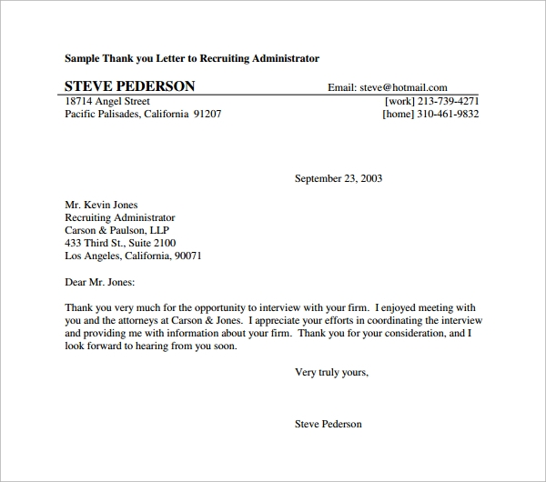 Sample Formal Thank You Letter - 9+ Download Free Documents In Pdf