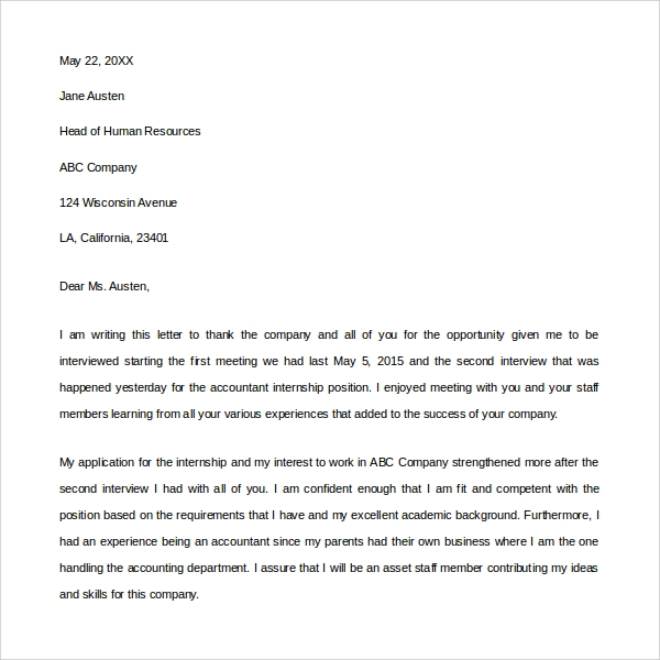 sample thank you letters for interview