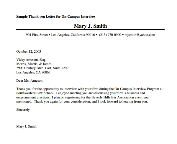 Sample Thank You Letter After Second Interview Download Free – Thank You Letter for Interview
