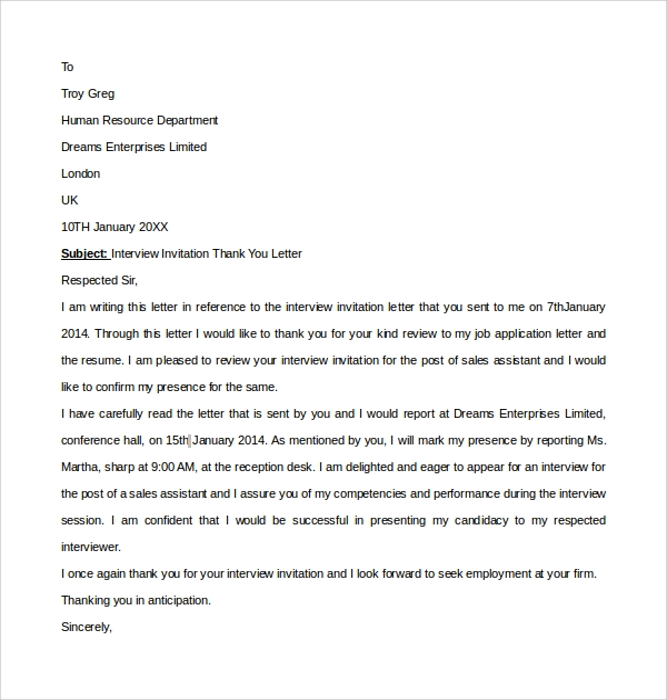 Sample thank you letter to interviewer 9 download free interview invitation thank you letter stopboris Image collections