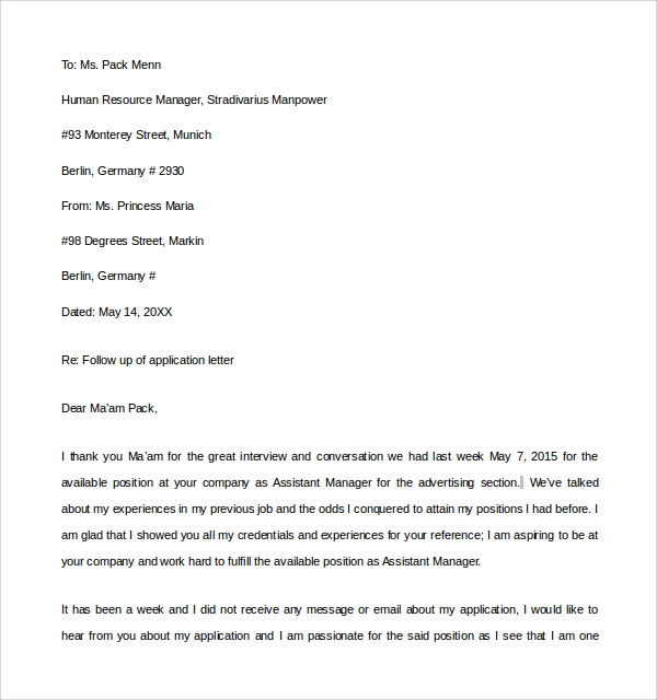 Sample Thank You Letter To Interviewer   Download Free