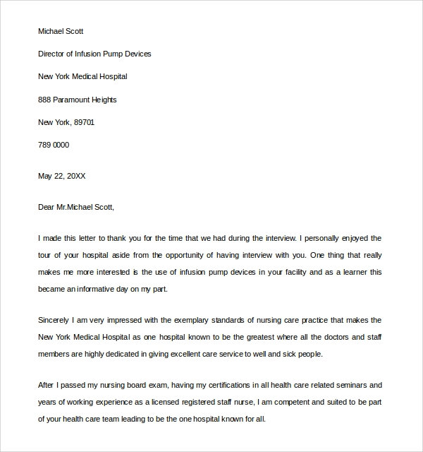 Follow Up Thank You Letter For Nursing Interview - Cover Letter