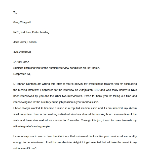 Sample Thank You Letter To Interviewer - 9+ Download Free