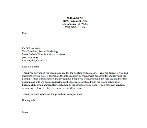 Sample Thank You Letter To Interviewer 9 Download Free