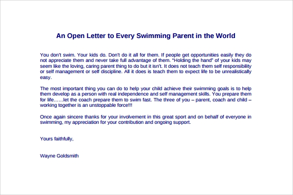 9  thank you letters to parents