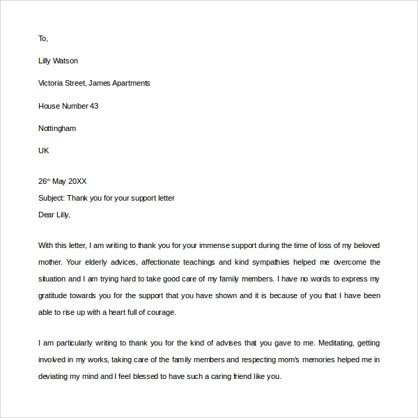 sample thank you for your support letter