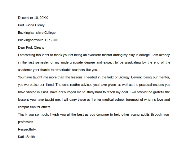 Sample Thank You Letter to Mentor   11+ Download Free Documents in