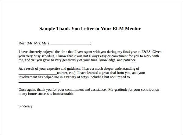 Sample Thank You Letter To Mentor 11 Download Free