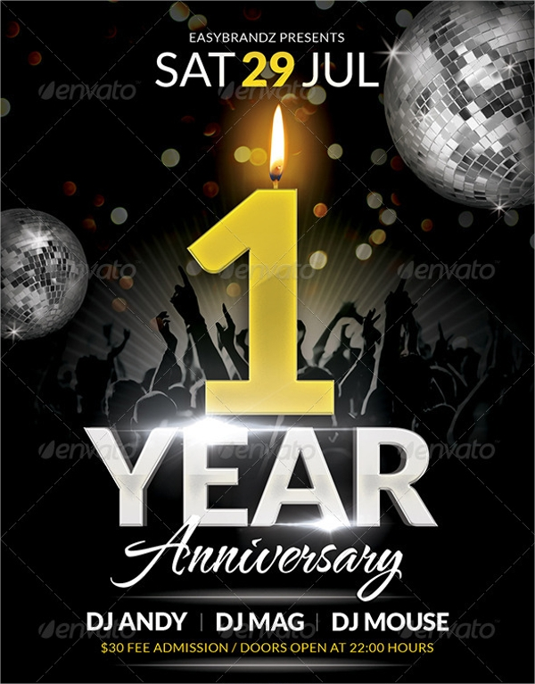 1 anniversary party flyer