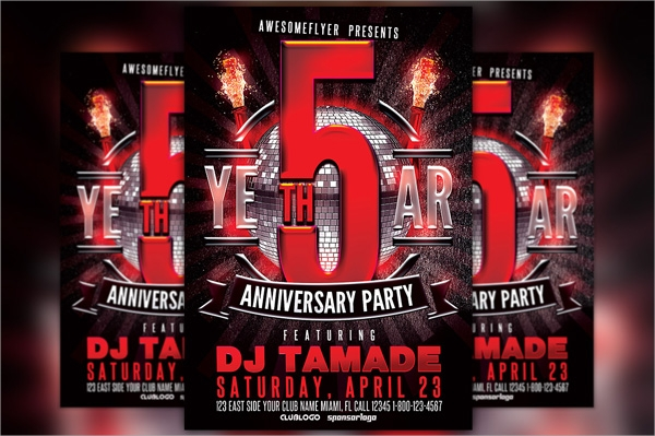 5 anniversary party flyer