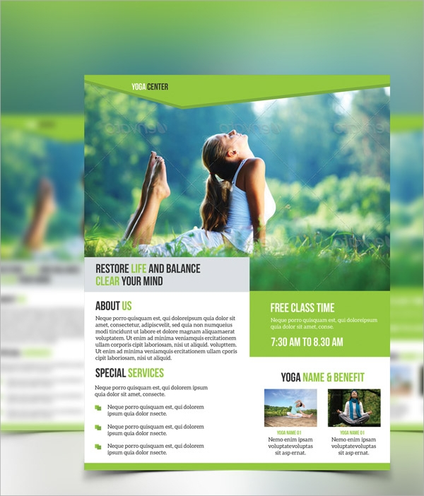 yoga brochure templates free - 21 yoga flyer templates sample templates