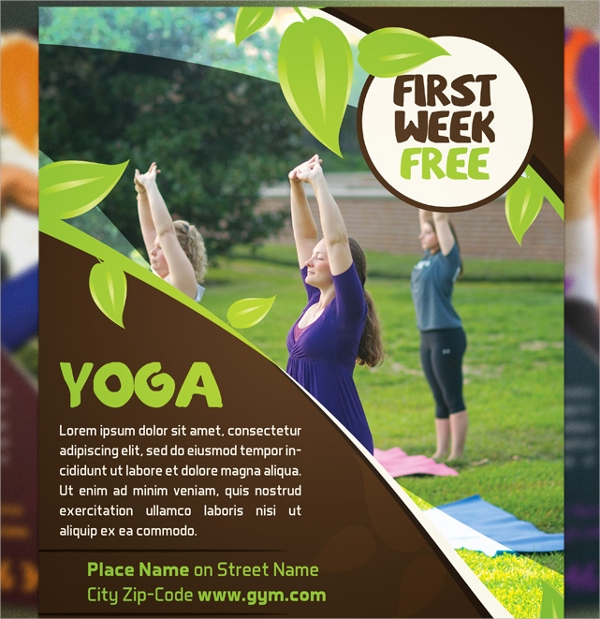 close to nature yoga flyer template