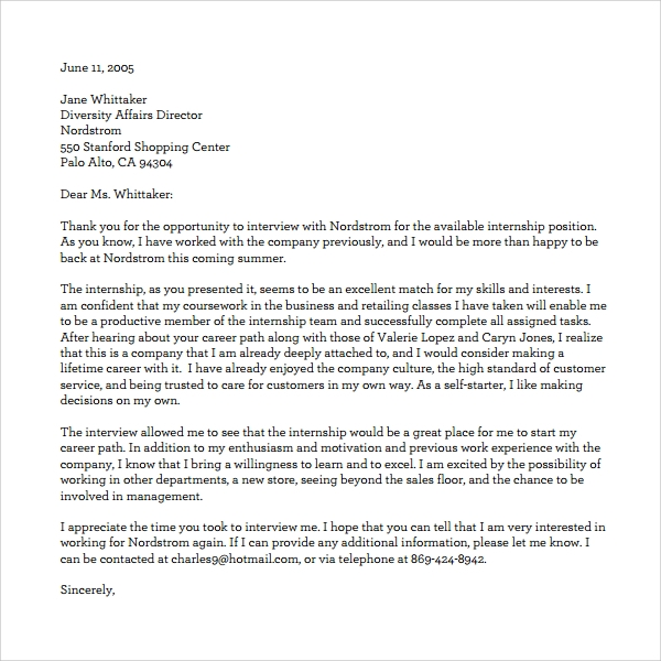 Sample Thank You Letter To Recruiter   Download Free Documents